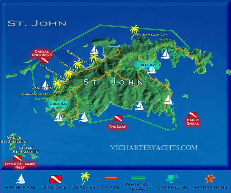 Luxury Catamaran Charters BVI Yacht Charters - Map of st john us virgin islands